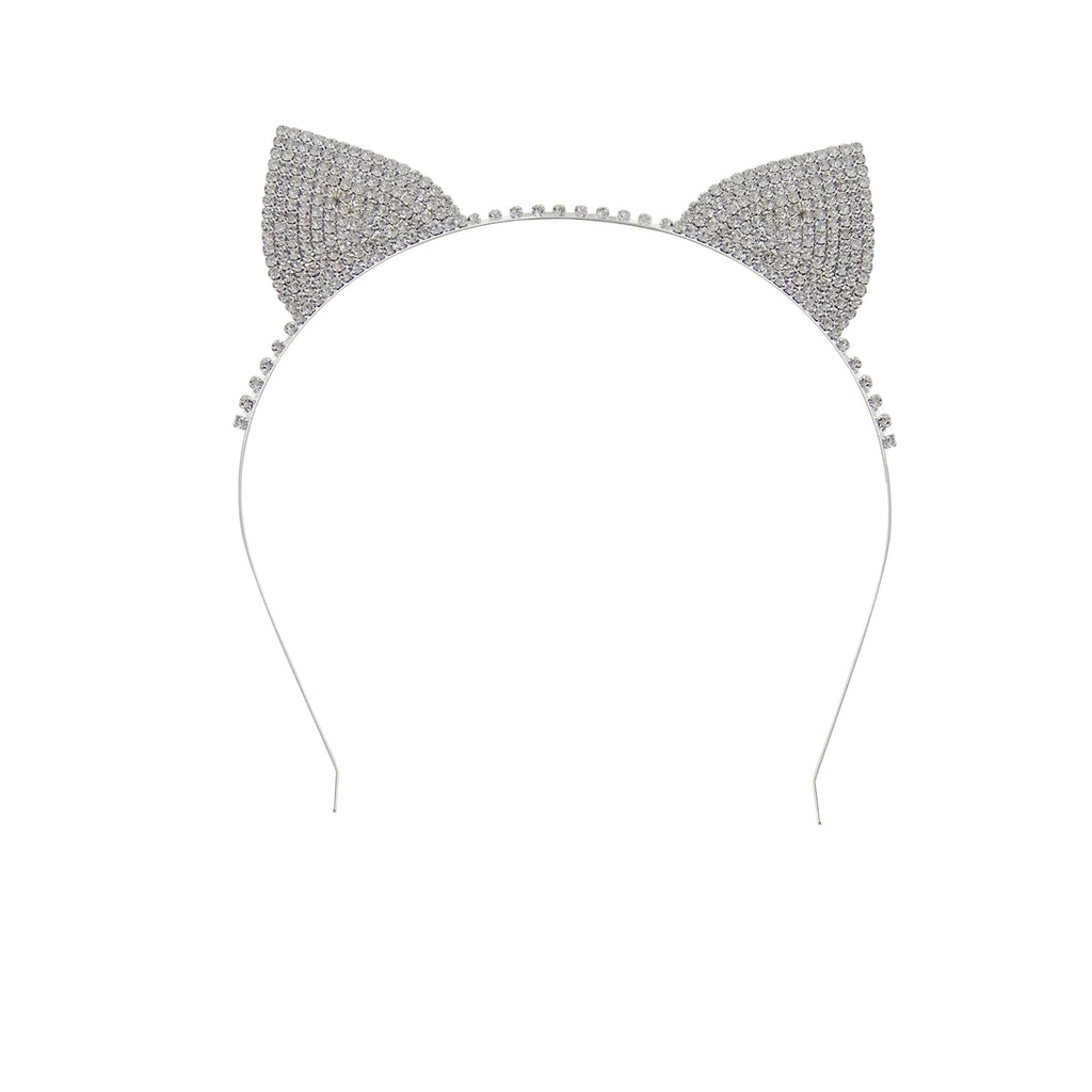 Crystal Clear Cat Ears Headband (silver tone)