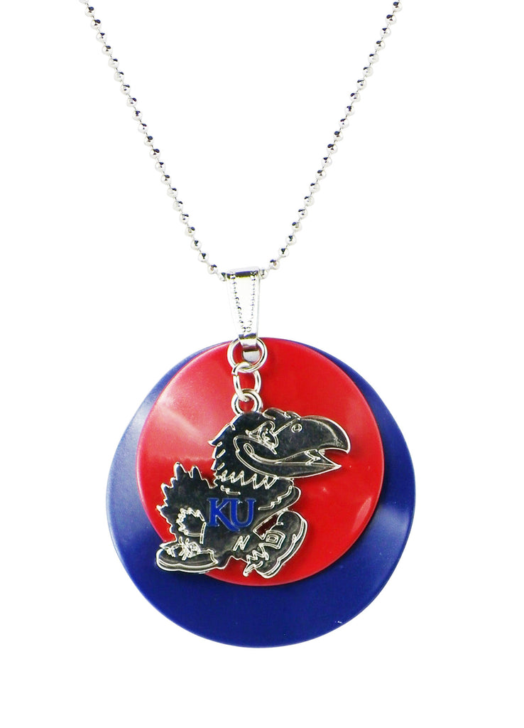 University of Kansas Blue and Crimson Pendant Necklace