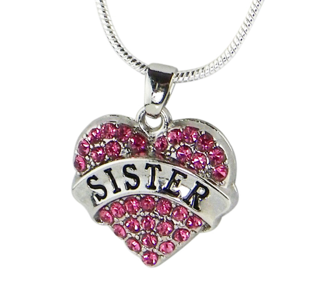 Sister Gift Pink Crystal Heart Charm Necklace