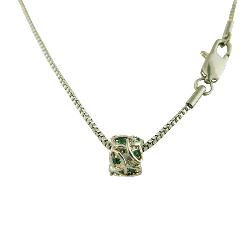 Triquetra Irish Knot Bead Pendant Necklace Green Crystal Silver Tone