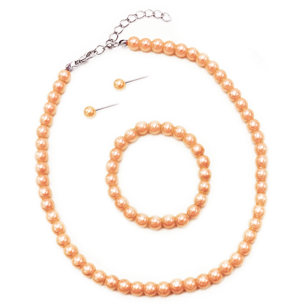 "Girl's 6mm Glass Bead Simulated Pearl 3 Piece Necklace Bracelet Earrings Flower Girl Bridal Jewelry Set, 12""-14"" and 2"" extender (Peach)"