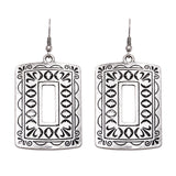 Textured Antique Silver Tone Statement Rectangular Earrings