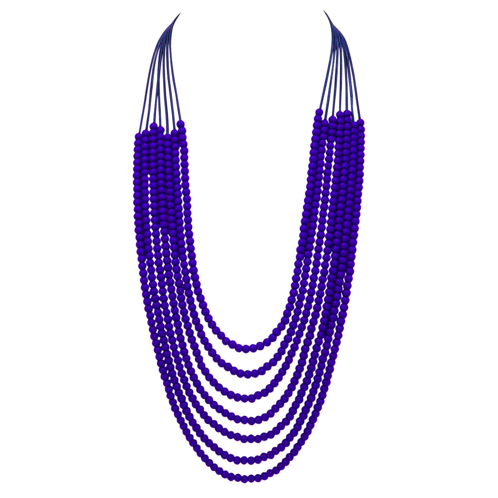 Fashion Trending Jewelry Stunning 6mm Beaded Multi Strand Necklace (Cobalt Blue) 32 inches
