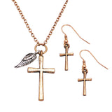 Angel Wing and Cross Charm Long Necklace and Earrings Gift Set