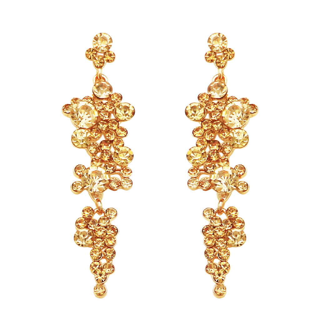 Rhinestone Crystal Bubble Dangle Statement Earrings (Topaz)