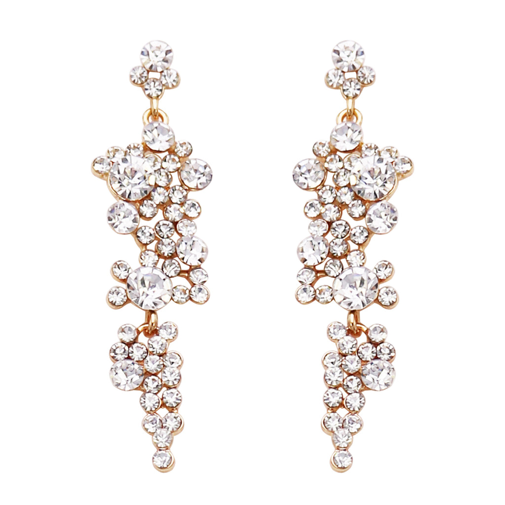Rhinestone Crystal Bubble Dangle Statement Earrings (Clear/Gold)