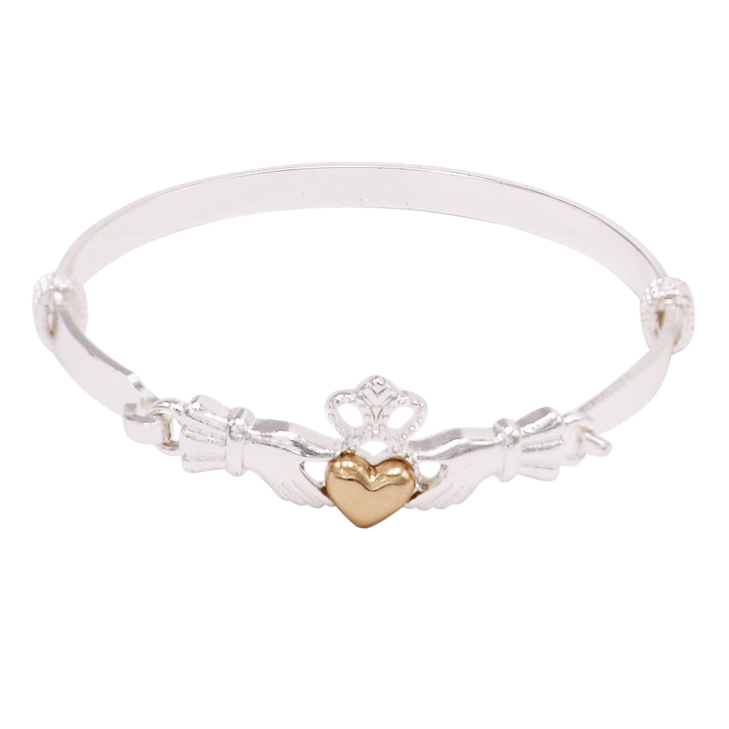 Two Tone Claddagh Cuff Fashion Bracelet (Silver)