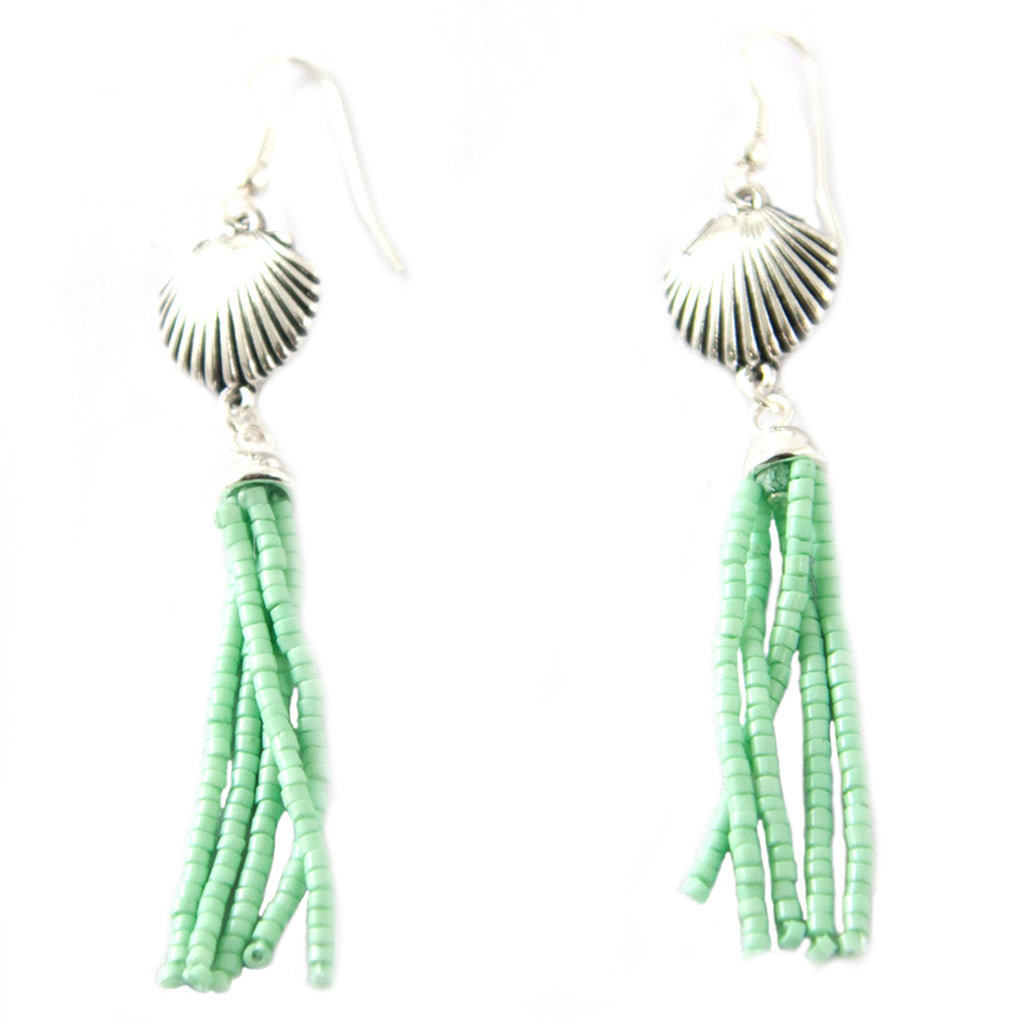 Seashell Beaded Tassel Earring