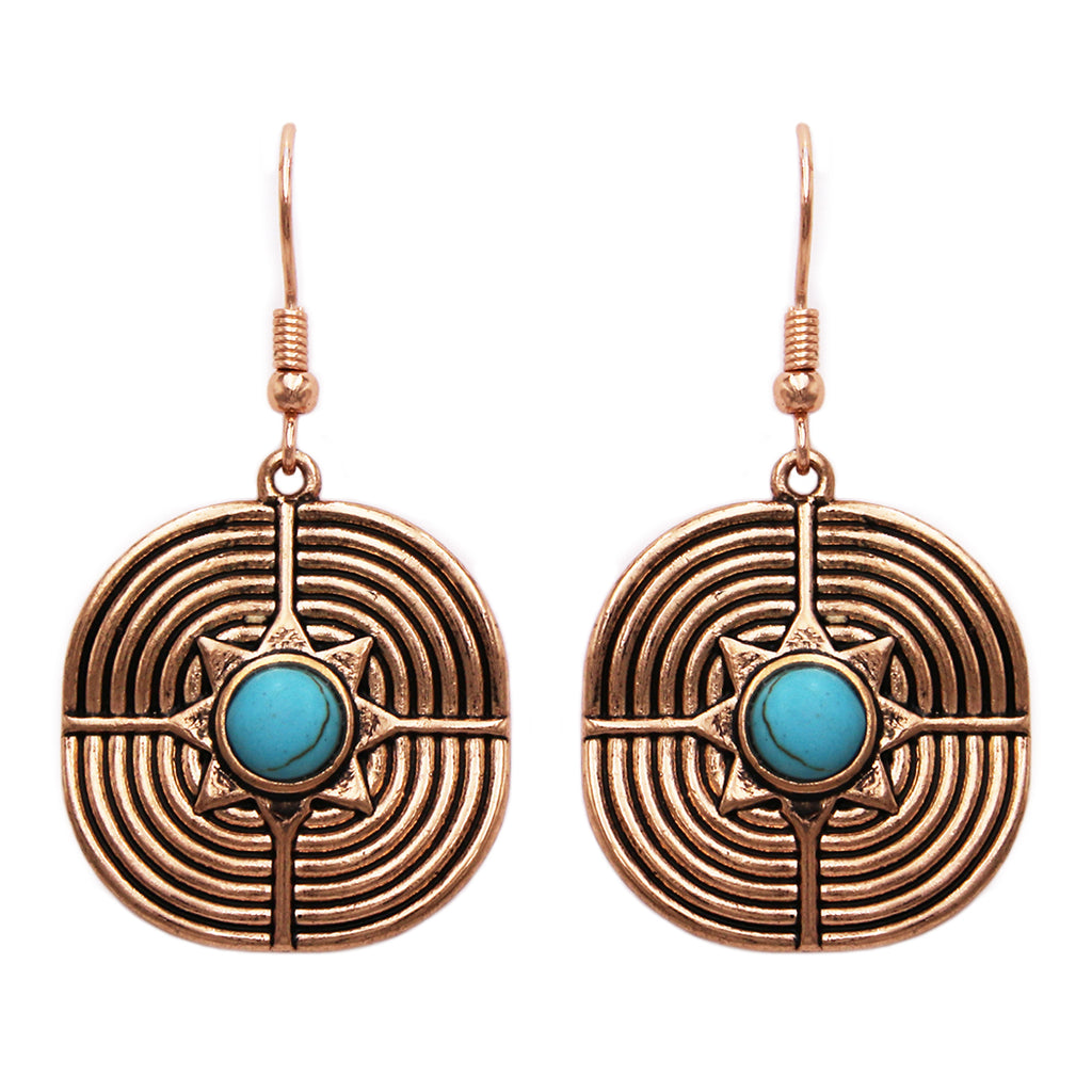 Women's Textured Gold Tone Statement Turquoise Circular Dangle Drop Earrings