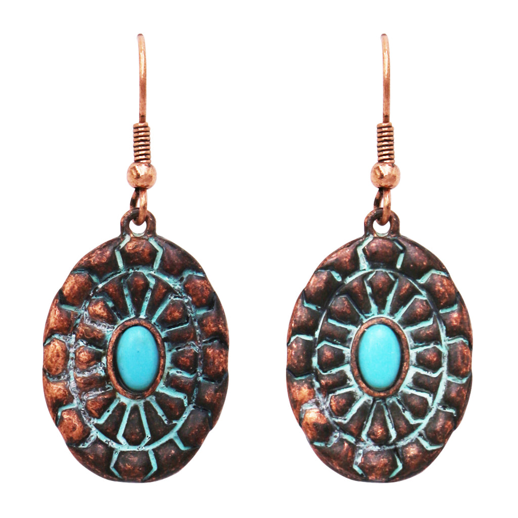 Southwestern Copper Patina Concho Style Turquoise Howlite Stone Dangle Drop Statement Earrings