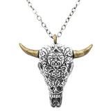 Rosemarie Collections Women's South Western Style Steer Head Two Tone Pendant Statement Necklace