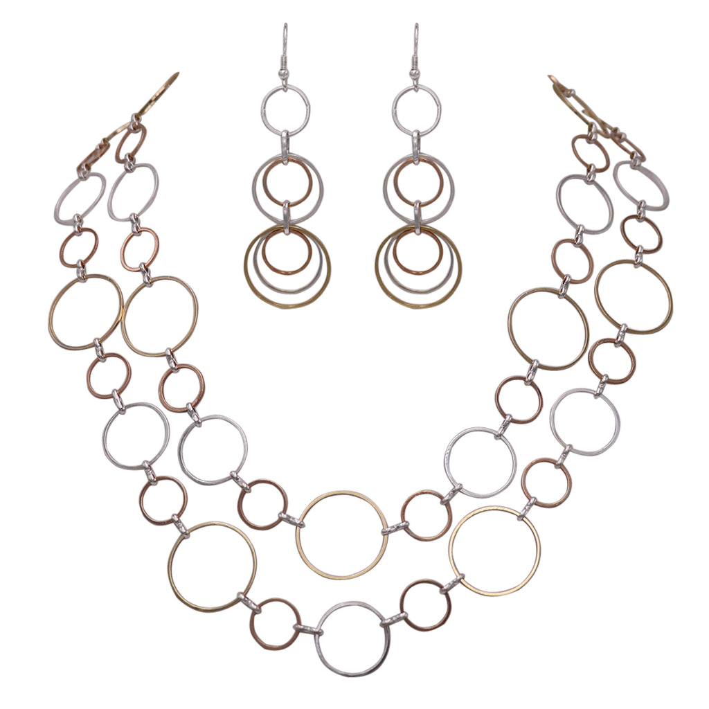 Three Tone Circle Extra Long Matching Necklace and Earring Statement Set