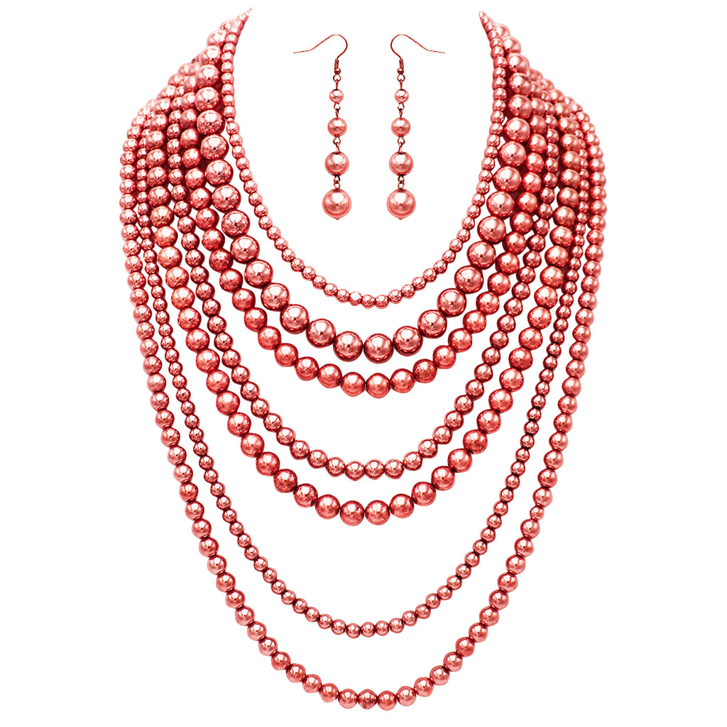 Fashion Jewelry Set Beaded Multi Strand Bib Necklace (Polished Copper Tone)
