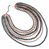 Women's Fashion Copper and Patina Color Beaded Multi Strand Necklace and Earring Jewelry Gift, 18