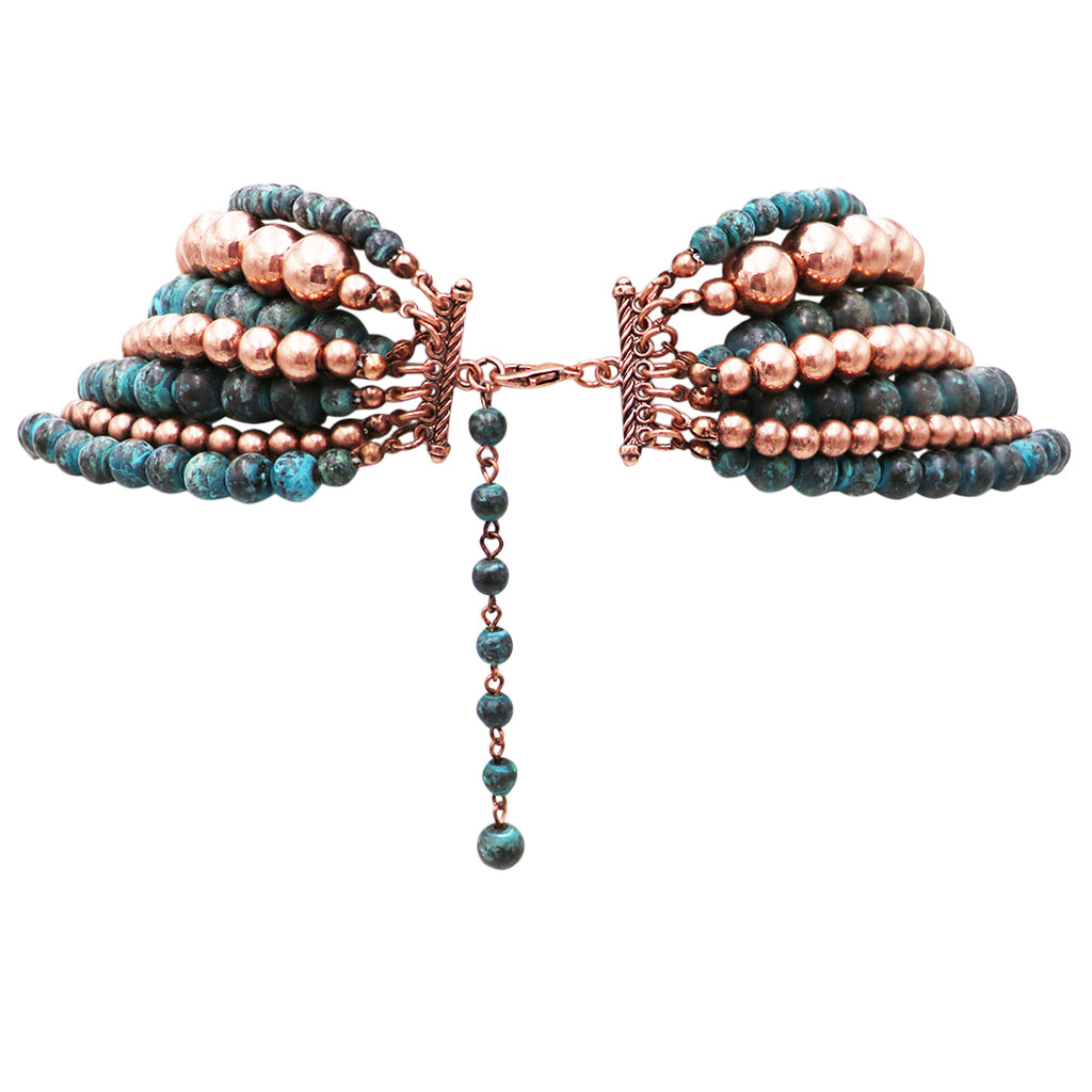 "Women's Fashion Copper and Patina Color Beaded Multi Strand Necklace and Earring Jewelry Gift, 18"" to 21"" with 7"" Extender"
