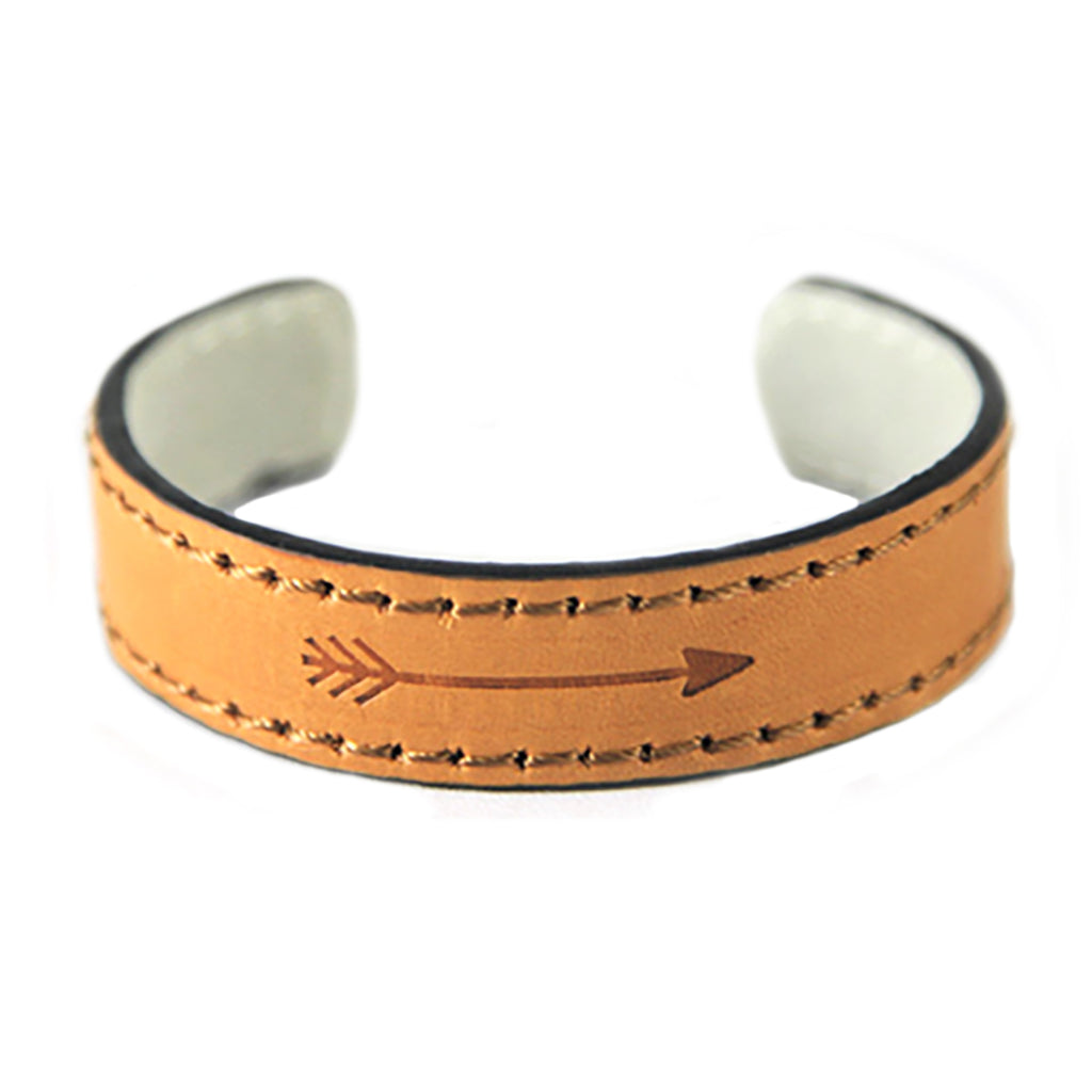 Vegan Leather Cuff Fashion Bracelet with Arrow Detail