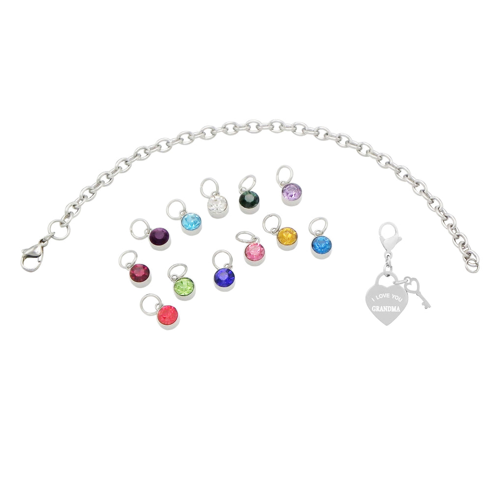 Hypoallergenic Stainless Steel Birthstone Charm Bracelet for Grandmother