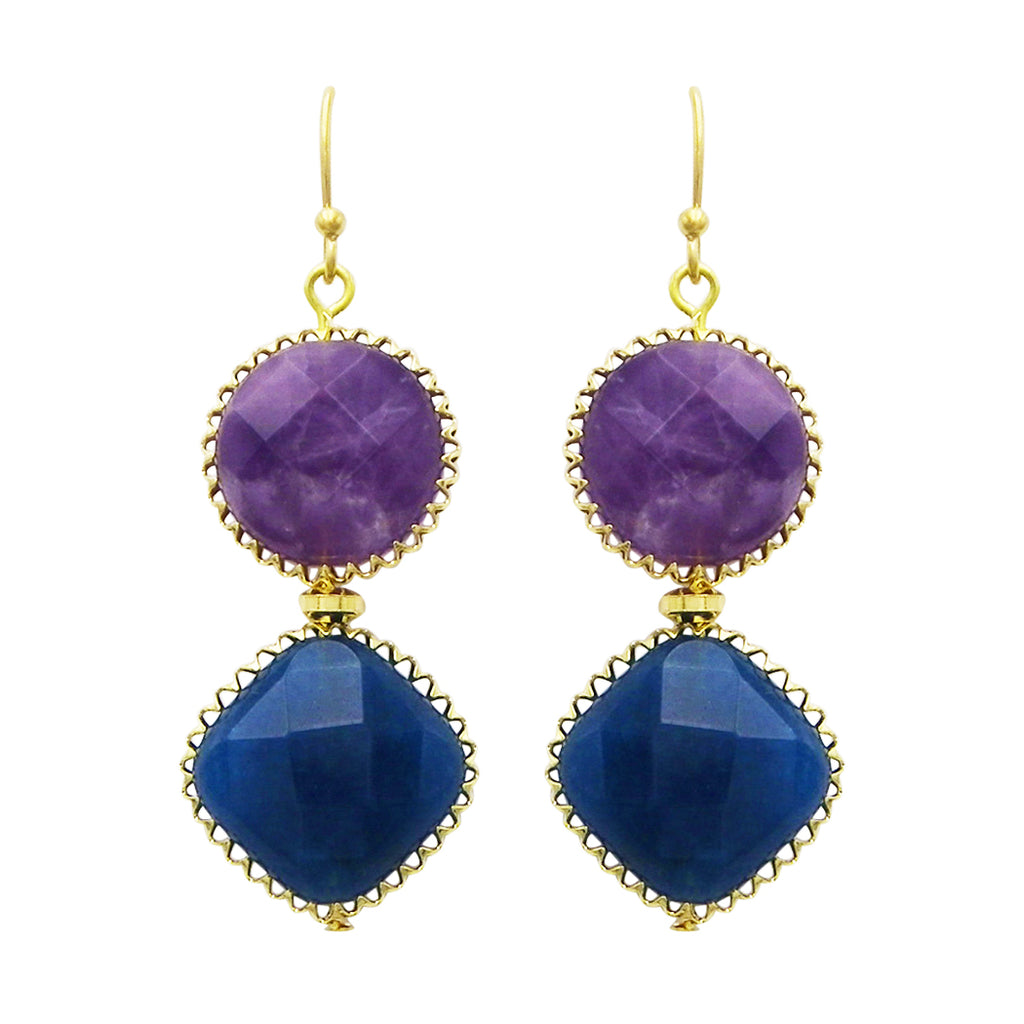 Natural Stone Double Drop Fashion Earrings (Teal and Purple)