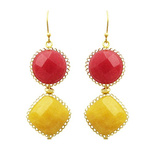 Natural Stone Double Drop Fashion Earrings (Red and Yellow)