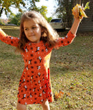 Rosemarie Collections Girls 3/4 Sleeve Halloween Print Witch Costume Dress Skater Dress (Medium Girls 5/6, Orange Unicorn Witches)