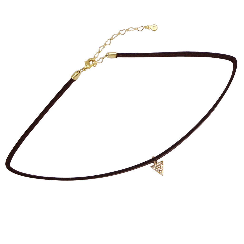 Genuine Leather Choker with Petite CZ Triangle Charm
