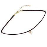 Genuine Leather Choker with Dangle Triangle Charm