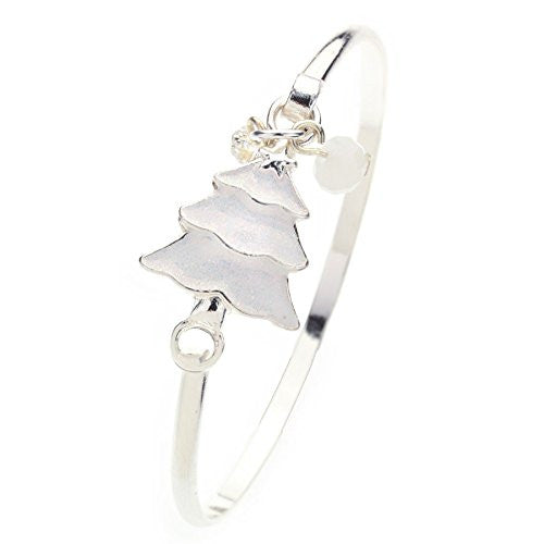 Frosty Christmas Tree Bangle Bracelet