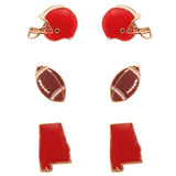 3 Pairs Alabama Championship Fashion Stud Earrings (Football)