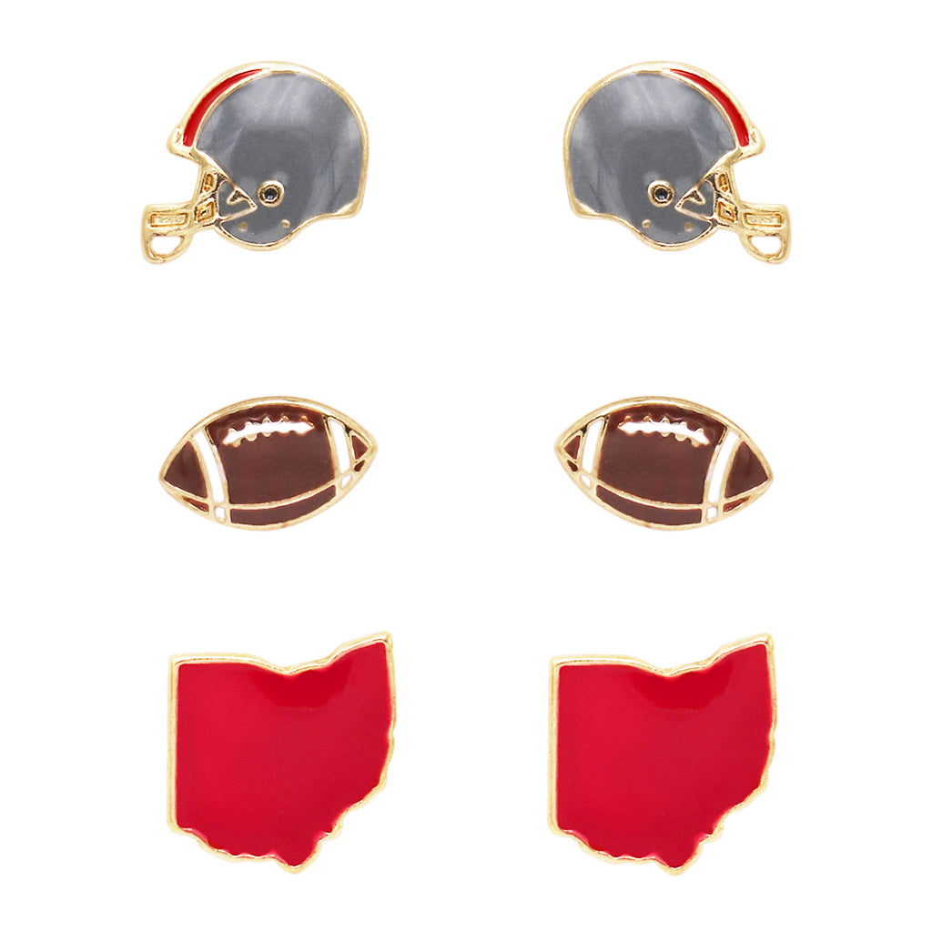 3 Pairs College Football Enamel Fashion Stud Collegiate Earrings (Ohio State Buckeyes)