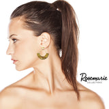 Matte Gold Tone and Wood Hoop Dangle Post Earrings