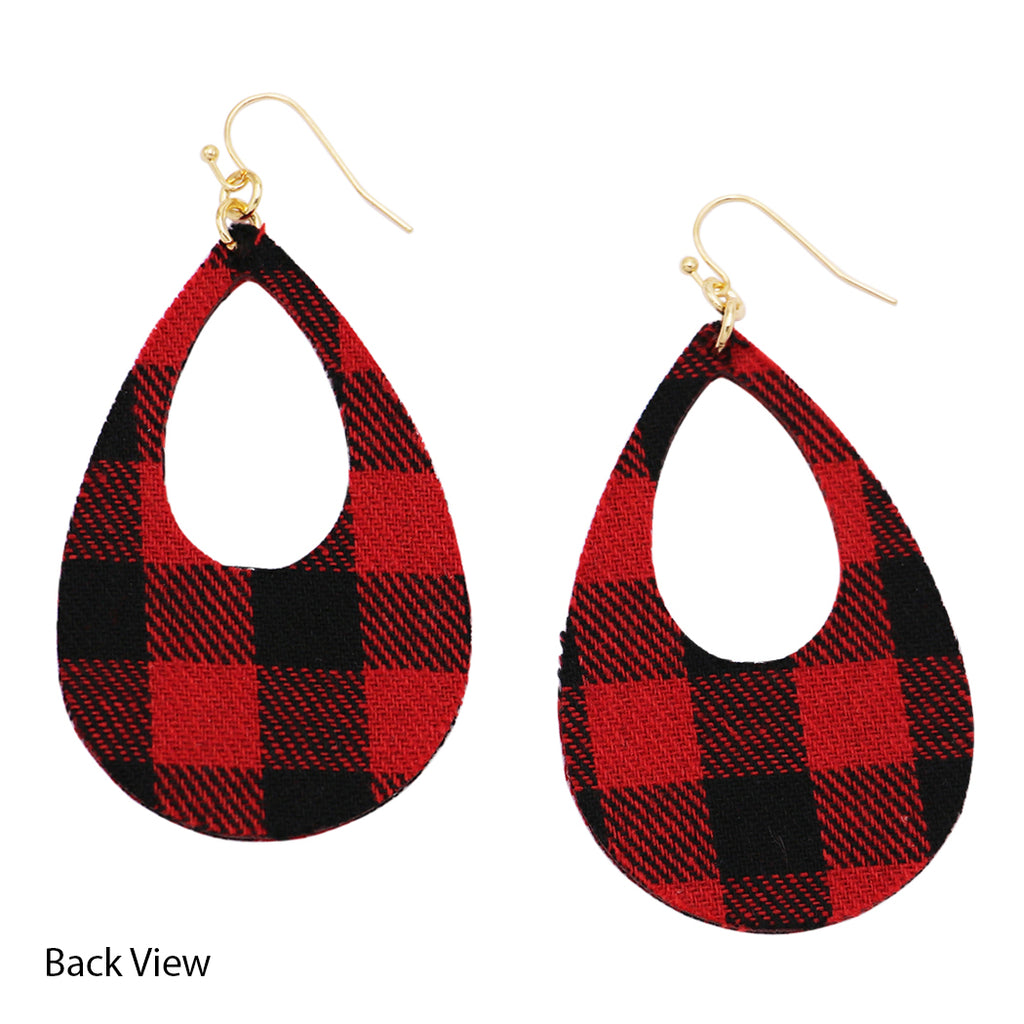 New Fashion Trending Buffalo Plaid Fabric Teardrop Dangle Earrings, 3""
