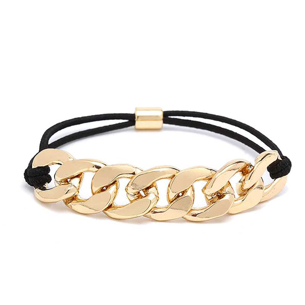 Versatile Stretch Bracelet or Hair Wrap Tie with Curb Link Chain Detail