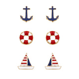 Red White and Blue Enamel Nautical Stud Earrings Set of 3