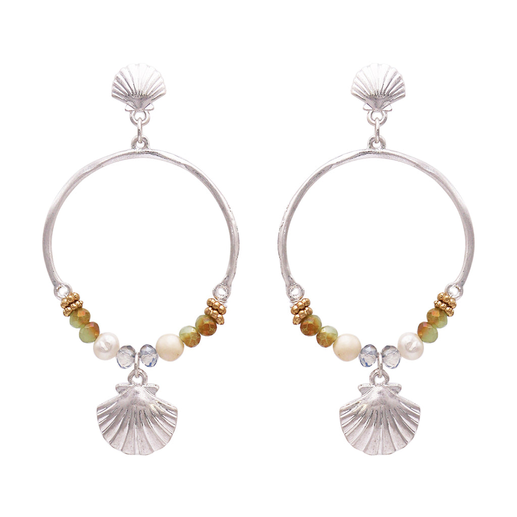 Beaded Hoop Dangle Beach Shell Post Earrings (Silver Tone)
