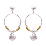 Women's Beaded Long Hoop Dangle Beach Shell Charm Post Silver Tone Earrings