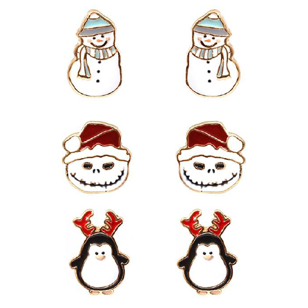 Holiday Christmas 3 Pairs Stud Earrings Snowman Penguin Jack Frost