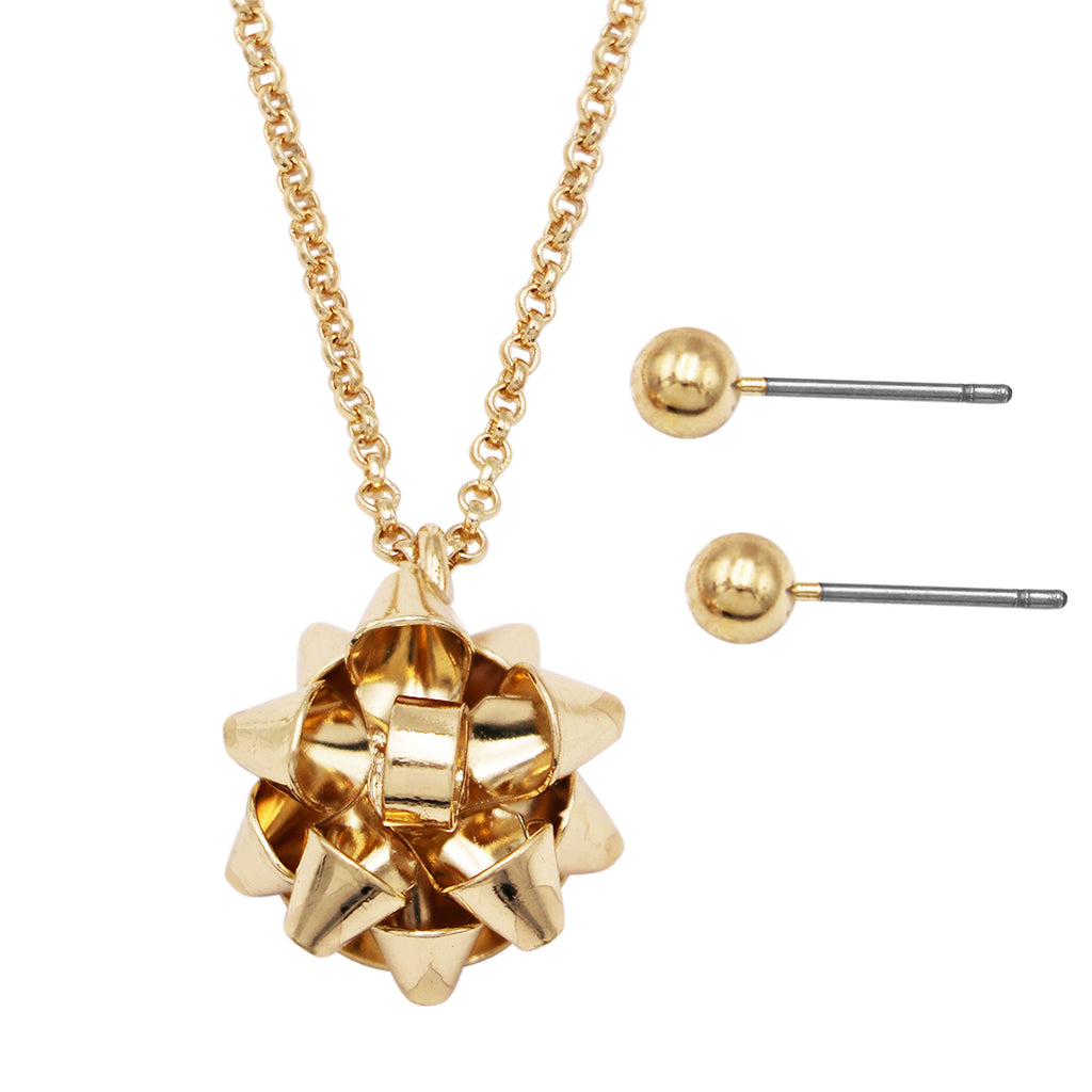 Gold Tone Holiday Christmas Celebration Bow Charm Pendant Necklace and Earrings Set