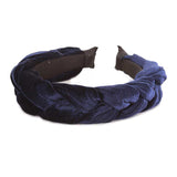 Chic Velvet Braided Headband (Navy)