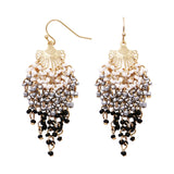 Women's Long Fringe Statement Dangle Seed Bead Earrings Black/Silver/White Color, 2.5
