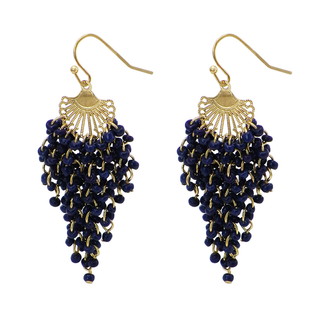 Fringe Statement Dangle Seed Bead Earrings (Navy Blue)