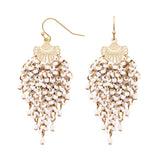 Fringe Statement Dangle Seed Bead Earrings (White)