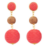 Women's Long Wood Bead and Thread Fuchsia Ball Drop Post Earrings