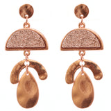 Geometric Druzy Dangle Post Earrings (Rose Gold Tone/Rose Gold)