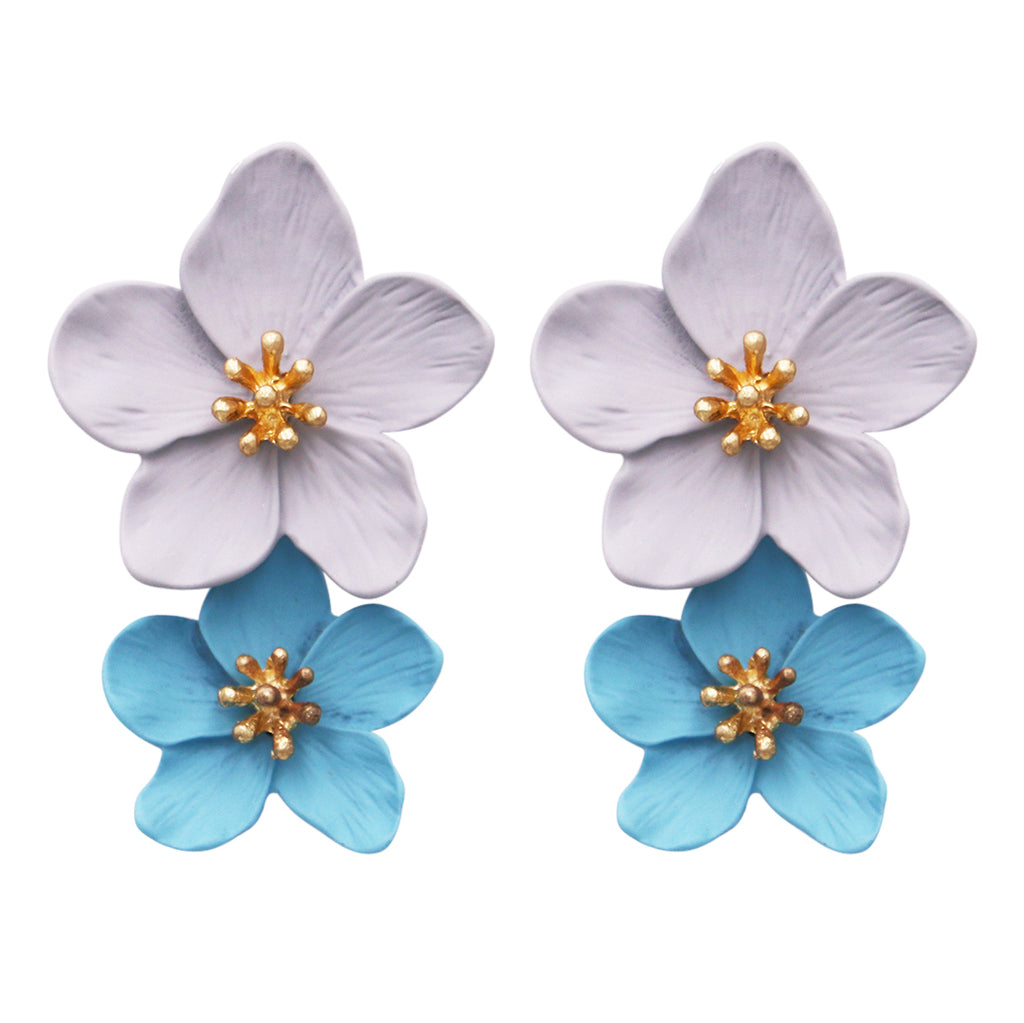 Double Metal Grey and Light Blue Flower Statement Dangle Drop Post Earrings