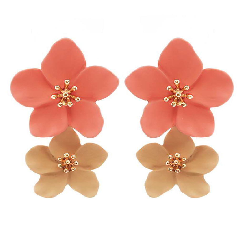 Double Metal Coral and Tan Flower Dangle Drop Statement Post Earrings