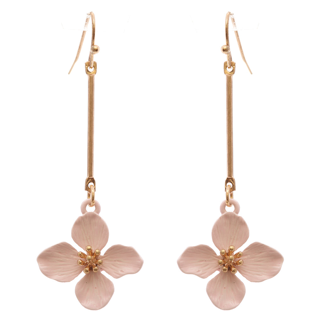 Women's Pink Dangle Bar Flower Drop Earrings