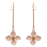 Women's Pink Petite Fashion Dangle Bar Flower Drop Gift Earrings