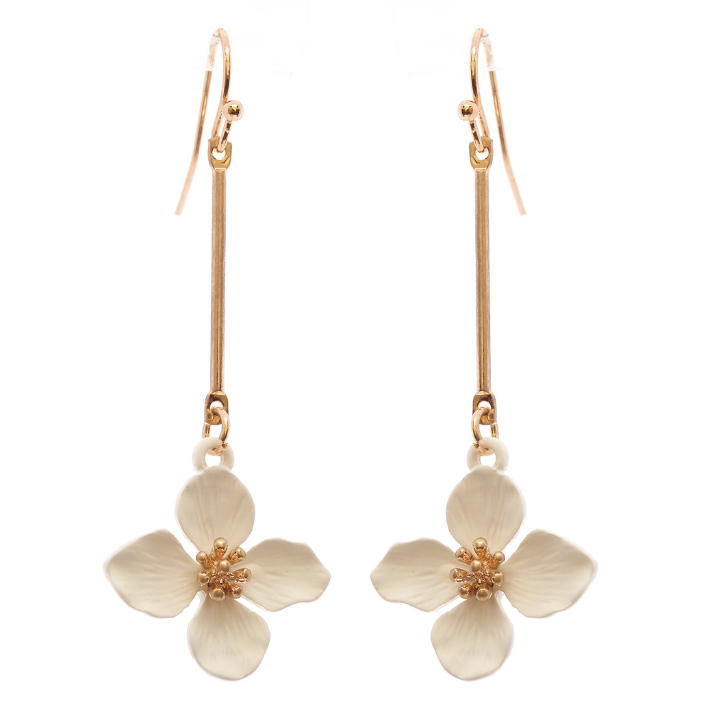 Dangle Bar White Flower Drop Earrings, 2.5""