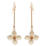 Dangle Bar White Flower Drop Earrings, 2.5