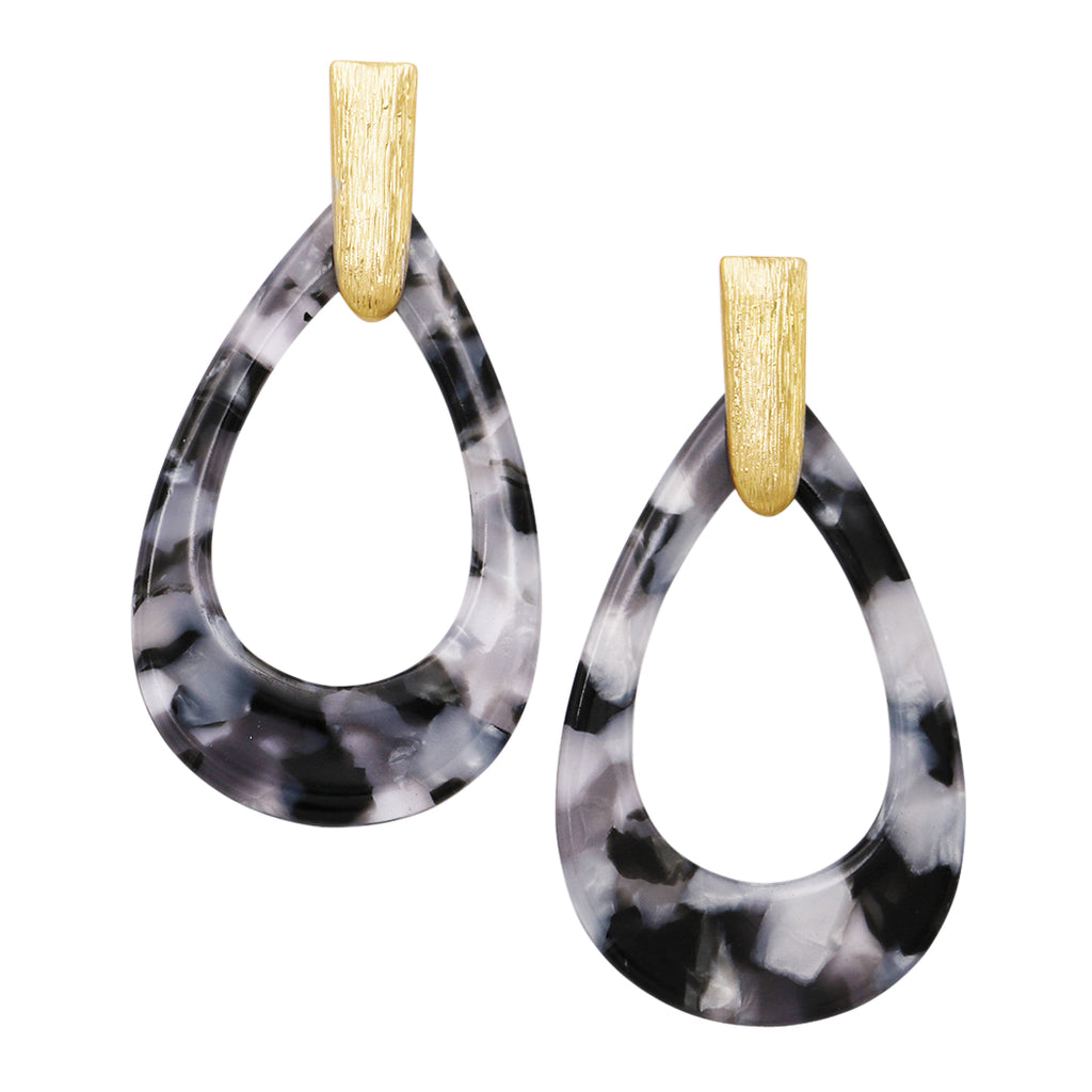 Celluloid Teardrop Hoop Dangle Earrings (Black and White)